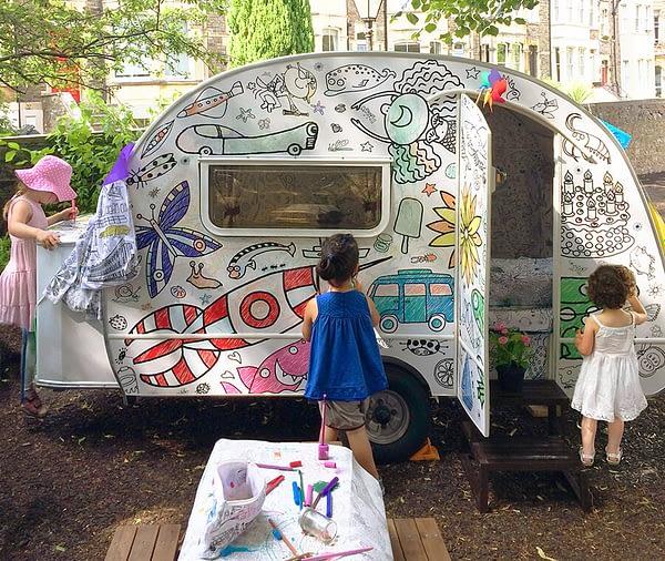 Eggnogg Colour-in Caravan - exterior - kids at Christchurch School Summer Fete