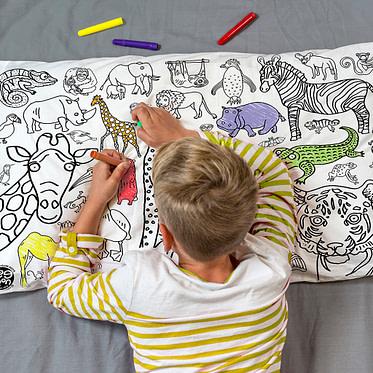 Colour-in Animals pillowcase